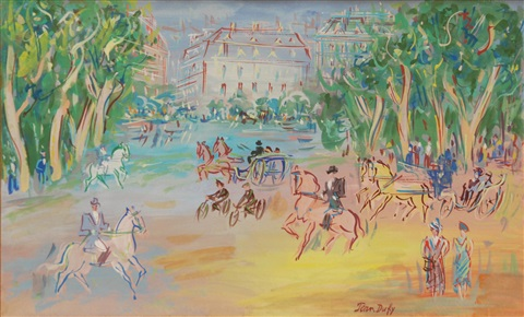 park scene with horses and carriages by jean dufy