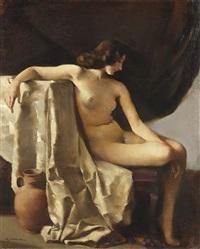 sitzender weiblicher akt in elegischer stimmung by rudolf nissl