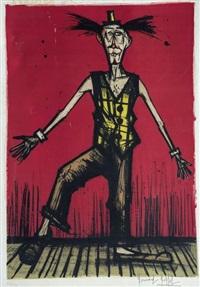 clown équilibriste, planche de mon cirque by bernard buffet