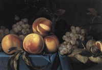 nature morte aux pêches, raisins, figues by paul liegeois