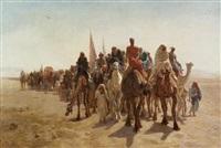caravane de pèlerins allant vers la mecque by léon adolphe auguste belly