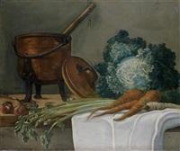 nature morte aux ustensiles de cuisine, nature morte aux légumes, faisans perdreaux rouges et bécasses (pair) by etienne jeaurat