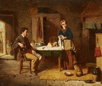 interior scene with couple and dog by thomas faed