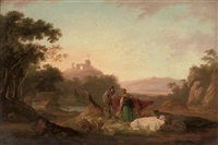a wooded river landscape with figures and cattle in the foreground, ruins on a hill beyond by peter la cave
