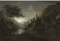 figures beside a moonlit river with a castle on a hillside by abraham pether