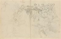 carnet de dessins contenant 60 dessins sur 47 feuillets réalisés à rome dans les années 1754-1765 et à paris dans les années 1765-1770 (sketchbook w/60 works) by hubert robert