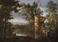 vue romantique d'un lac by isidore dagnan