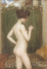 a standing female nude with a pair of doves by albert höflinger