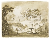 view of an italian garden with a terrace and fountain by hubert robert