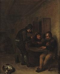 boors making merry in an interior by egbert van heemskerck