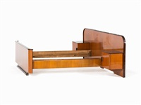 art déco bed with two night stands by jindrich halabala
