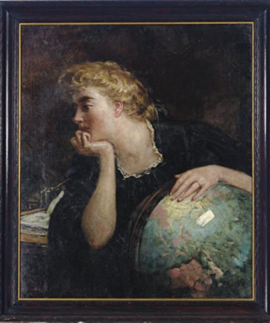 lady resting her hand on a globe by james carroll beckwith