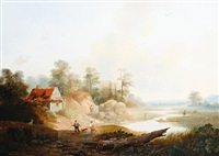 figures in an open river landscape by hendrik verpoeken