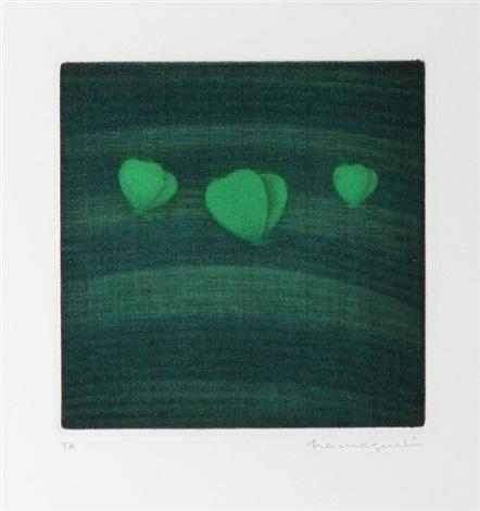 three butterflies, green by yozo hamaguchi