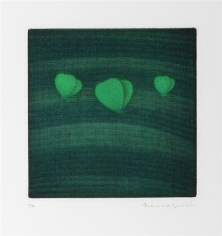 three butterflies green by yozo hamaguchi