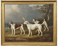 hounds in a wooded pastoral landscape by william webb