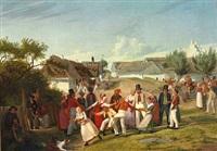 bönderkarle og piger fra hedeegnen imellem kjöge og roeskilde samles til lystighed under aaben himmel en helligdags eftermiddag by hans jörgen hammer
