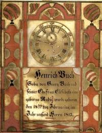 birth certificate for henrich buch by samuel bentz ('mount pleasant artist')