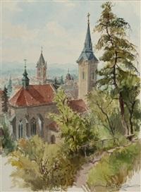 blick vom kreuzberg über amstetten by hans hofmann