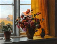 flowers in a window sill by wilhelm andersen