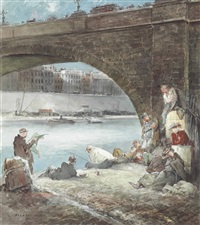 fishing on the seine by everett shinn