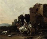 a classical landscape with a hunting party at rest by dirk stoop