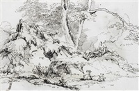 figures and goats in a landscape (recto); studies of an indian woman and child (verso) by george chinnery