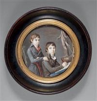 deux jeunes garçons dessinant by jean baptiste sambat
