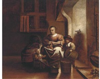 a kitchen interior with a woman and children by reynier covyn