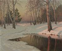 paysage d'hiver au soleil couchant by mikhail markianovich germanshev