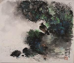 山涧栖雀 by li xiongcai
