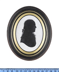 a silhouette of peter birt, profile to the right, wearing coat, frilled cravat, pigtail wig tied with a ribbon bow (collab. w/ studio of john miers) by john m. field