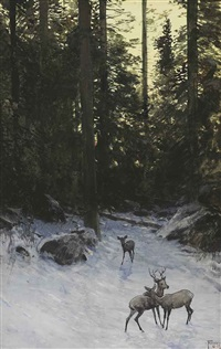 deer in the forest by henry f. farny