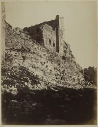 jordanie, karak, angle sud-ouest du donjon de la forteresse by henri sauvaire