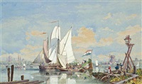 a busy day on the scheldt by george henry andrews