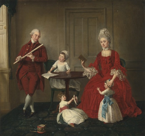 portrait of mr and mrs james blew and their three children in an elegant interior collab wstudio by johann joseph zoffany