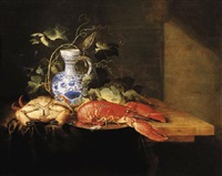 a lobster on a pewter plate plate, a crayfish, vine decorating a delft earthenware jug and façon-de-venise by laurens craen