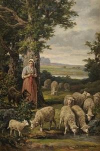 bergère et ses moutons by charles ferdinand ceramano