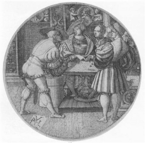 three men playing at a game of dice by monogrammist p v l