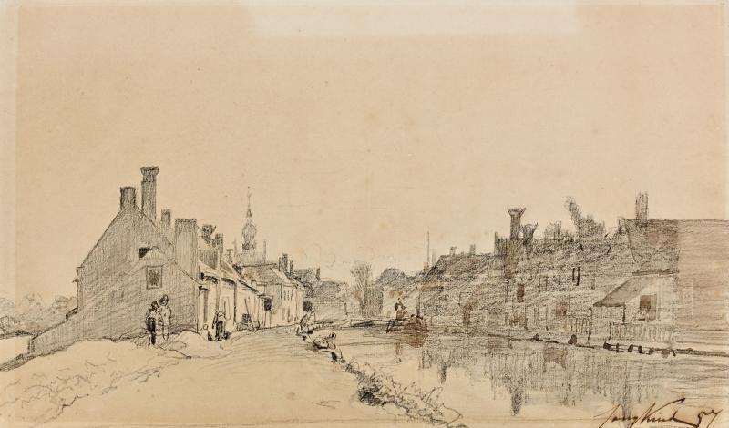 ville au bord dun canal by johan barthold jongkind