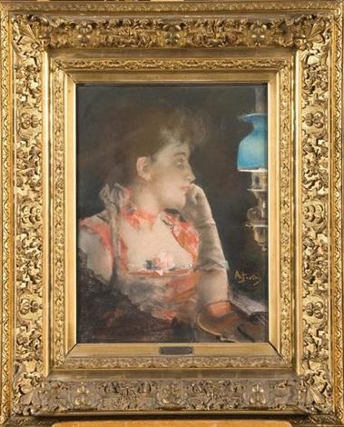 profil de femme au violon by alfred stevens