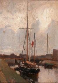bateaux sur le canal by gustave edouard le senechal de kerdreoret