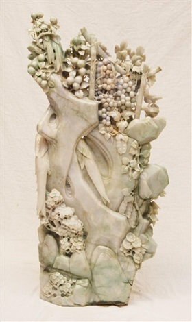 palatial carved jadeite birds group sculpture