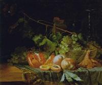 stilleben mit weintrauben, pfirsichen und granatapfel by louis arbant