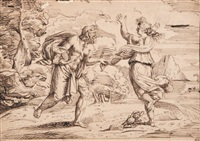 jupiter poursuivant une nymphe (after augustin carrache) by michel corneille the younger