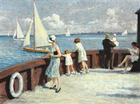 summer day at langelinie. a family is watching the sailing boats in øresund by paul gustave fischer