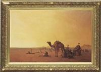rastande beduiner i ökenlandskap by henrik august ankarcrona