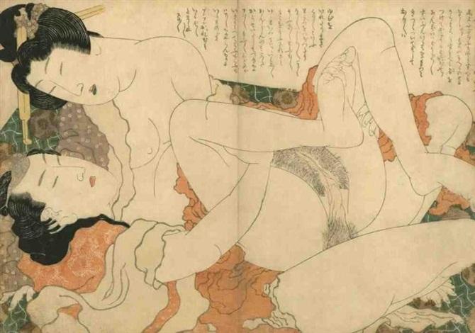 oban yoko e fukujuso amants en pleine étreinte by katsushika hokusai