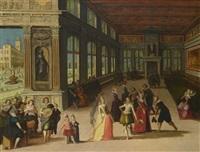 scène de bal dans un palais architecturé by louis de caullery