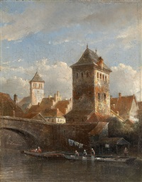 a view of a riverside town with laundresses by kasparus karsen